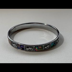 Abalone silvertone bracelet with heart accents